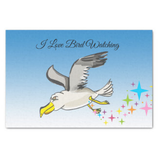Cartoon seagull flying over head with a blue sky tissue paper
