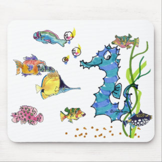 Cartoon Seahorse Cute Cartoon Fish Mousepads