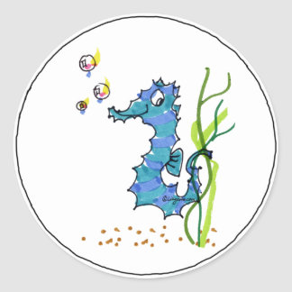 Cartoon Seahorse Cute Classic Round Sticker