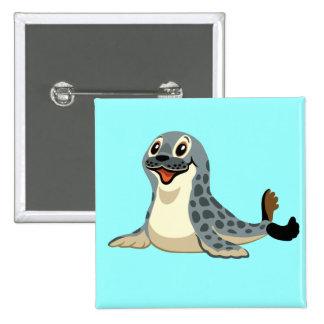 cartoon seal 15 cm square badge
