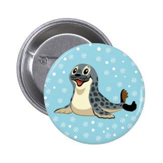 cartoon seal 6 cm round badge