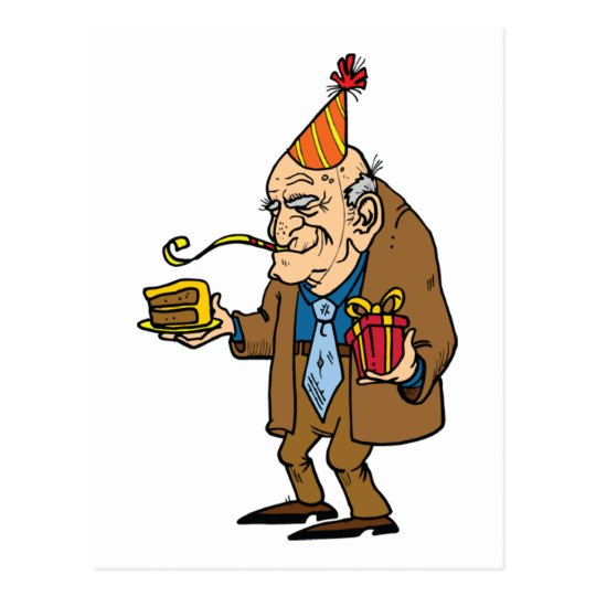 cartoon senior citizen man postcard