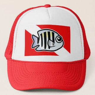 Cartoon Sergeant Major Dive Flag Trucker Hat
