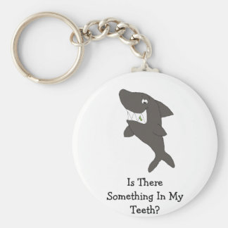 Cartoon Shark With Food In Teeth Key Ring