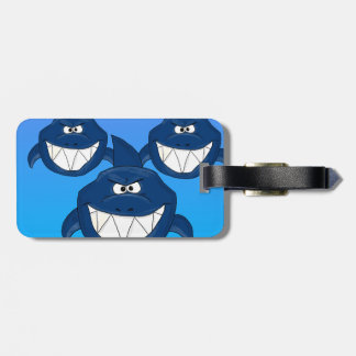 Cartoon sharks luggage tag