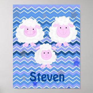 Cartoon sheep family Nursery baby Poster