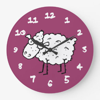 Cartoon Sheep Large Clock