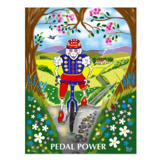 cartoon sheep on Bicycle in the countryside Postcard