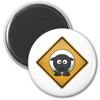 Cartoon Sheep Warning Sign 6 Cm Round Magnet