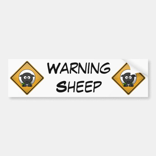 Cartoon Sheep Warning Sign Bumper Sticker
