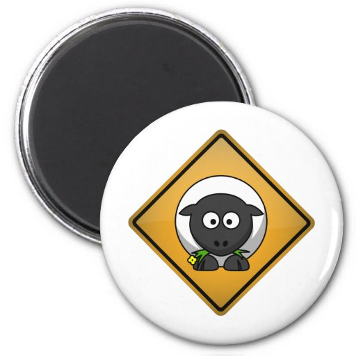 Cartoon Sheep Warning Sign Magnet