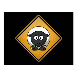Cartoon Sheep Warning Sign Postcard