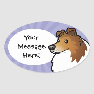 Cartoon Shetland Sheepdog / Collie Oval Sticker