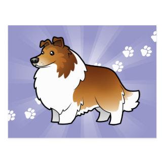 Cartoon Shetland Sheepdog / Collie Postcard