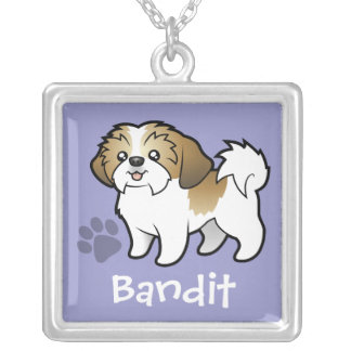 Cartoon Shih Tzu (puppy cut) (add your pets name) Silver Plated Necklace
