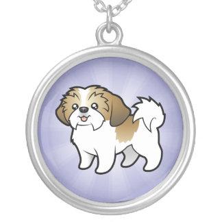 Cartoon Shih Tzu (puppy cut) Silver Plated Necklace