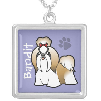 Cartoon Shih Tzu (show cut) (add your pets name) Silver Plated Necklace