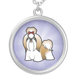 Cartoon Shih Tzu (show cut) Silver Plated Necklace