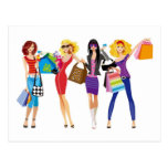 CARTOON SHOPPING GIRLS VECTORS FASHION STYLE FUN F