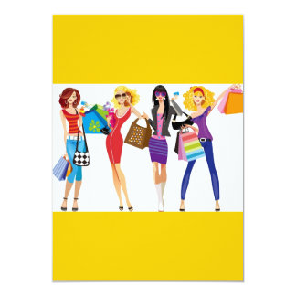 CARTOON SHOPPING GIRLS VECTORS FASHION STYLE FUN F CARD