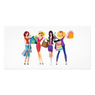 CARTOON SHOPPING GIRLS VECTORS FASHION STYLE FUN F PHOTO GREETING CARD