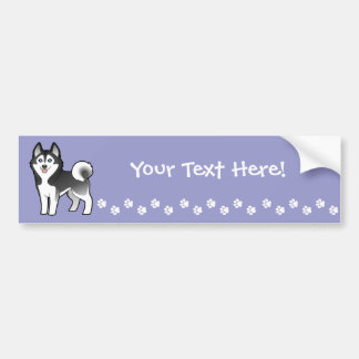 Cartoon Siberian Husky / Alaskan Malamute Bumper Sticker