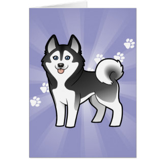 Cartoon Siberian Husky / Alaskan Malamute Card