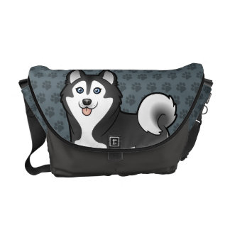 Cartoon Siberian Husky / Alaskan Malamute Courier Bag