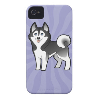 Cartoon Siberian Husky / Alaskan Malamute iPhone 4 Case-Mate Cases