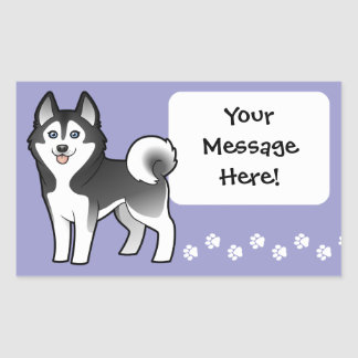 Cartoon Siberian Husky / Alaskan Malamute Rectangular Sticker