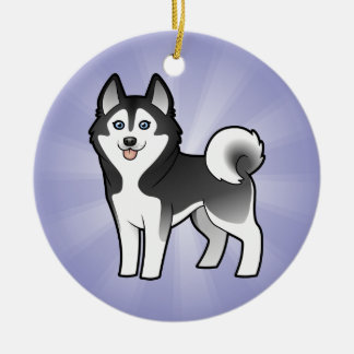 Cartoon Siberian Husky / Alaskan Malamute Round Ceramic Decoration