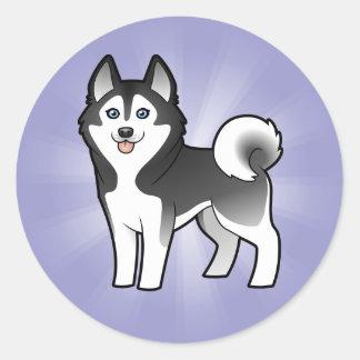 Cartoon Siberian Husky / Alaskan Malamute Round Sticker