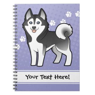 Cartoon Siberian Husky / Alaskan Malamute Spiral Note Book
