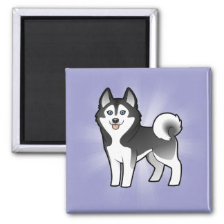 Cartoon Siberian Husky / Alaskan Malamute Square Magnet