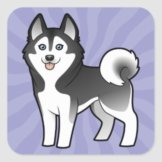 Cartoon Siberian Husky / Alaskan Malamute Square Sticker