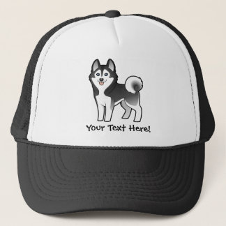 Cartoon Siberian Husky / Alaskan Malamute Trucker Hat