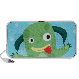Cartoon Silly Green Monster PC Speakers