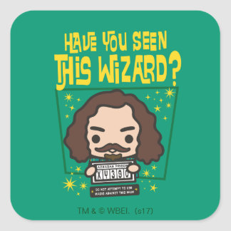 Cartoon Sirius Black Wanted Poster Graphic Square Sticker