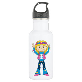 Cartoon Sixties Peace Hippie 532 Ml Water Bottle