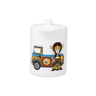 Cartoon Sixties Peace Hippie and Van