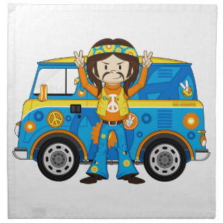 Cartoon Sixties Peace Hippie and Van Napkin