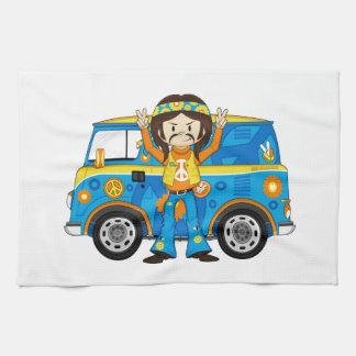 Cartoon Sixties Peace Hippie and Van Tea Towel