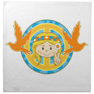 Cartoon Sixties Peace Hippie Girl Napkin