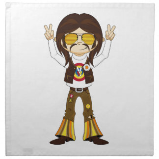 Cartoon Sixties Peace Hippie Napkin