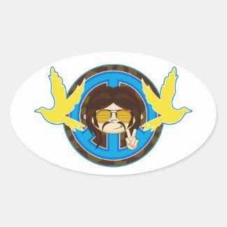 Cartoon Sixties Peace Hippie Oval Sticker