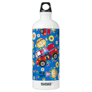 Cartoon Sixties Peace Hippie Pattern Water Bottle