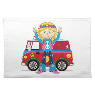 Cartoon Sixties Peace Hippie Placemat