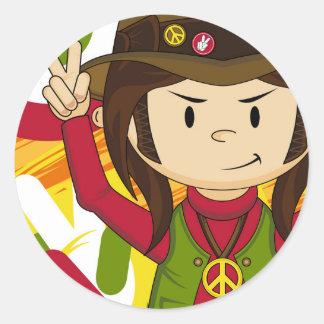 Cartoon Sixties Peace Hippie Stickers