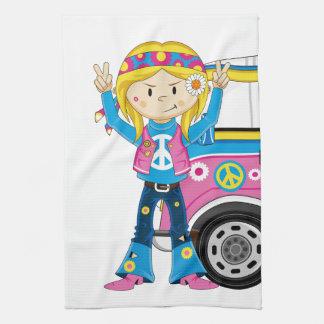 Cartoon Sixties Peace Hippie Tea Towel