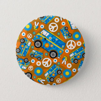 Cartoon Sixties Peace Hippie Van 6 Cm Round Badge